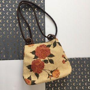 Handbags - Vintage peach and cream floral wicker bucket bag